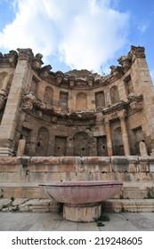 JERASH, JORDAN - JANUARY 9, 2009: The Nymphaeum in Jerash, Jordan. Jerash is the site of the ruins of the Greco-Roman city of Gerasa.