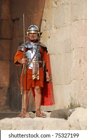 JERASH - NOVEMBER 25: Jordanian man dressed as Roman soldier during a roman army reenactment show on November 25, 2009 in Jerash, Jordan