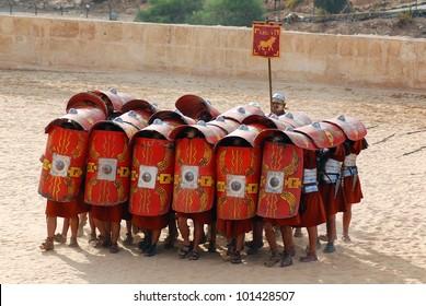 JERASH - NOVEMBER 25: Jordanian men dress as Roman soldier during a roman army reenactment show on November 25, 2009 in Jerash, Jordan
