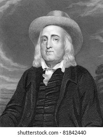 Jeremy Bentham (1748-1832). Engraved by J.Pofselwhite and published in The Gallery Of Portraits With Memoirs encyclopedia, United Kingdom, 1833.