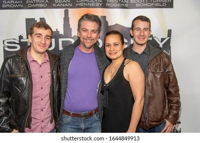 """Jeremy Miller, Joanie Miller with sons attend Special Screening of Amazon Video """"Studio City"""" at Elks Lodge, Van Nuys, CA on February 11, 2020"""