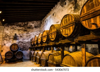 JEREZ DE LA FRONTERA, ANDALUSIA, SPAIN - FEBRUARY 2013: Wooden Sherry Barrels at the Gonzalez Byass Sherry Bodega.