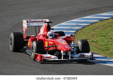 JEREZ DE LA FRONTERA - FEBRUARY 19: Spanish Fernando Alonso of Ferrari F1 team during winter test at Circuito de Jerez on February 19, 2010 in Jerez de la Frontera, Spain