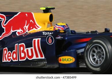 JEREZ DE LA FRONTERA - FEBRUARY 19: Australian Mark Webber of Red Bull team during winter test at Circuito de Jerez on February 19, 2010 in Jerez de la Frontera, Spain