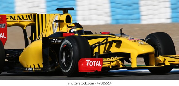 JEREZ DE LA FRONTERA - FEBRUARY 19: Robert Kubica of Poland and Renault F1 team during winter test at Circuito de Jerez on February 19, 2010 in Jerez de la Frontera, Spain