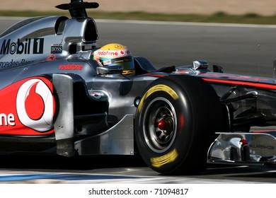 JEREZ DE LA FRONTERA - FEBRUARY 12: Lewis Hamilton of Great Britain and McLaren-Mercedes team during winter test at Circuito de Jerez on February 12, 2011 in Jerez de la Frontera, Spain