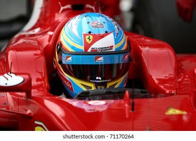 JEREZ DE LA FRONTERA - FEBRUARY 12: Spanish Fernando Alonso and Ferrari waits to enter in garage during winter test at Circuito de Jerez on February 12, 2011 in Jerez de la Frontera, Spain
