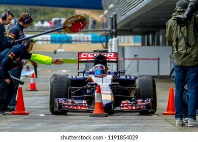 JEREZ DE LA FRONTERA, SPAIN - FEB 03:  Carlos Sainz of Scuderia Toro Rosso F1 Team entering to pits on training session on February 03 , 2015, in Jerez de la Frontera , Spain