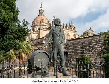 Jerez de la Frontera, Spain - February 16 2010: Statue of Manuel María González Ángel, the founder of González Byass and later the Tio Pepe bodega - which would become a brand of sherry.