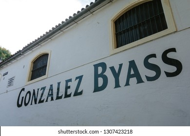 JEREZ DE LA FRONTERA SPAIN. DECEMBER 2, 2018: Facade of the famous winery Gonzalez Byass or Tio Pepe.