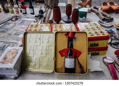 JEREZ DE LA FRONTERA, SPAIN. DECEMBER, 5-2018: Tio Pepe bottle in the Street flea market of old things and antiques in Alameda Vieja Square.