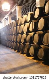 Jerez de la Frontera, Spain, 8th. August 2017. Barrels in one of the wineries.