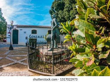 JEREZ DE LA FRONTERA, SPAIN. DECEMBER, 5-2018: Statue of Manuel Maria Gonzalez Angel (Tio Pepe) founder of the winery Gonzalez - Byass