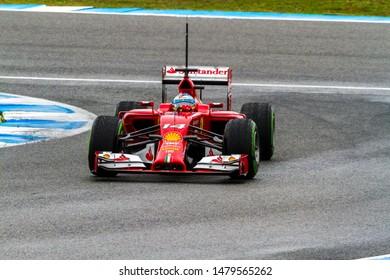 JEREZ DE LA FRONTERA, SPAIN - JAN 31: Fernando Alonso of Scuderia Ferrari F1 races on training session on January 31 , 2014, in Jerez de la Frontera , Spain