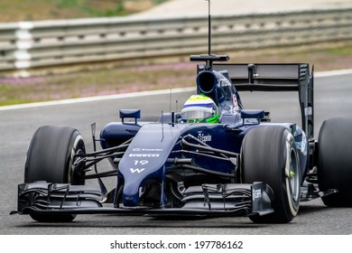JEREZ DE LA FRONTERA, SPAIN - JAN 31: Felipe Massa of Williams F1 races on training session on January 31 , 2014, in Jerez de la Frontera , Spain