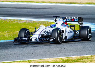 JEREZ DE LA FRONTERA, SPAIN - FEB 04:  Felipe Massa of Williams Martini Racing F1 Team races on training session on February 04 , 2015, in Jerez de la Frontera , Spain