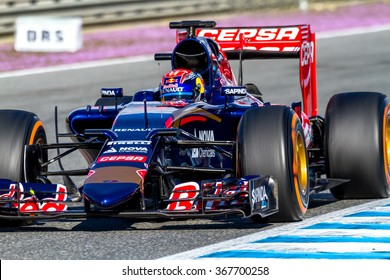 JEREZ DE LA FRONTERA, SPAIN - FEB 04:  Max Verstappen of Scuderia Toro Rosso F1 Team races 