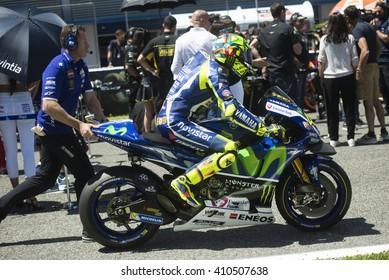 JEREZ DE LA FRONTERA, SPAIN - APRIL 24 :  Valentino Rossi, Italian motoGP rider of team Movistar Yamaha in  during race of MotoGP Spain on April 24, 2016 in Jerez de la