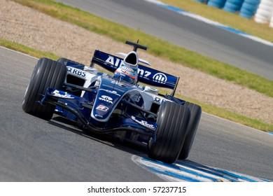 JEREZ DE LA FRONTERA, SPAIN - CIRCA 2006 : Narain Karthikeyan of Williams F1 on training session circa 2006 in Jerez de la Frontera, Spain.