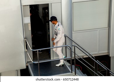 JEREZ DE LA FRONTERA, SPAIN - FEB 04:  Lewis Hamilton of Mercedes AMG Petronas F1 attending to the media after the training session on February 04 , 2015, in Jerez de la Frontera , Spain