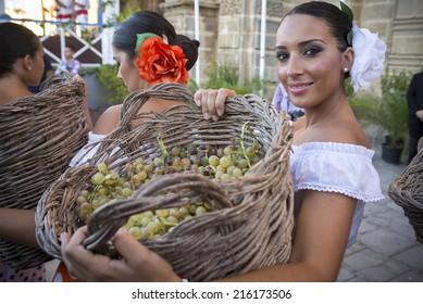 JEREZ DE LA FRONTERA, SPAIN-SEPTEMBER 10: Traditional grape stomp in Jerez, inaugural ceremony of the festival of the harvest on sep 10, 2014 in Jerez de la frontera.