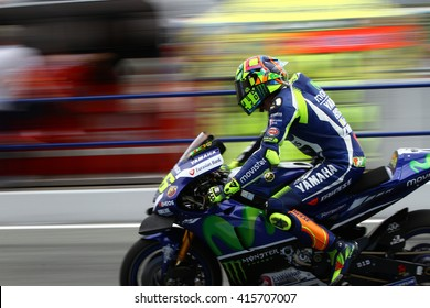 JEREZ - SPAIN, APRIL 23: Italian Yamaha rider Valentino Rossi wins at 2016 Red Bull MotoGP of Spain at Jerez circuit on April 23, 2016