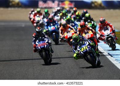 JEREZ - SPAIN, APRIL 24: First lap of MotoGP race at 2016 Red Bull MotoGP of Spain at Jerez circuit on April 24, 2016