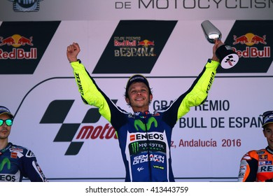 JEREZ - SPAIN, APRIL 24: Italian Yamaha rider Valentino Rossi wins at 2016 Red Bull MotoGP of Spain at Jerez circuit on April 24, 2016