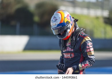 JEREZ (Spain) - FEBRUARY 10th: Jean-Eric Vergne testing his new Torro Rosso STR8 F1 car on the first Test at the Jerez Circuit, Andalucia Spain 2013.
