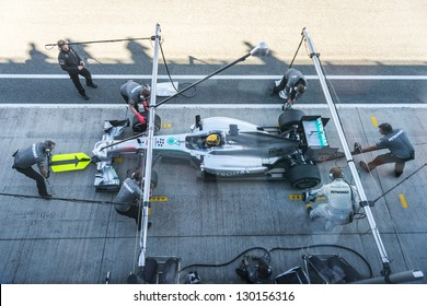 JEREZ, SPAIN - FEBRUARY 11: Lewis Hamilton practicing PitStops with his new Mercedes team on the first Test at the Jerez Circuit in Jerez, Andalucia, Spain on Feb. 11, 2013.