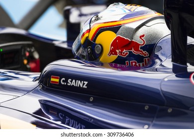 JEREZ, SPAIN - FEBRUARY 2ND: Carlos Sainz testing his new ST10 Scuderia Toro Rosso F1 car on the first Test at the Jerez Circuit in Jerez, Andalucia, Spain on Feb. 2, 2015.