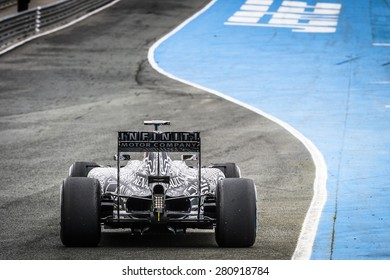 JEREZ, SPAIN - FEBRUARY 2ND: Daniel Ricciardo testing his new Infiniti Red Rull Racing RB11 F1 racing car on the first Test at the Jerez Circuit in Jerez, Andalucia, Spain on Feb. 2, 2015.