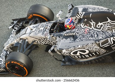 JEREZ, SPAIN - FEBRUARY 2ND: Daniil Kvyat testing his new RB11 Infiniti Red Bull Racing F1 car on the first Test at the Jerez Circuit in Jerez, Andalucia, Spain on Feb. 2, 2015.