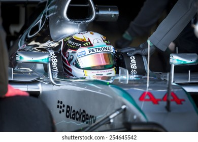JEREZ, SPAIN - FEBRUARY 2ND: Lewis Hamilton testing his new Mercedes W06 F1 car on the first Test at the Jerez Circuit in Jerez, Andalucia, Spain on Feb. 2, 2015.