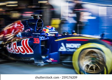 JEREZ, SPAIN - FEBRUARY 2ND: Max Verstappen testing his new STR10 Scuderia Toro Rosso Racing F1 car on the first Test at the Jerez Circuit in Jerez, Andalucia, Spain on Feb. 2, 2015.