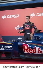 JEREZ, SPAIN - FEBRUARY 2ND: Max Verstappen testing his new ST10 Scuderia Toro Rosso F1 car on the first Test at the Jerez Circuit in Jerez, Andalucia, Spain on Feb. 2, 2015.