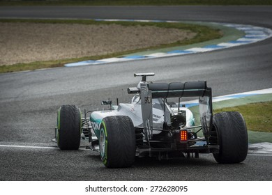 JEREZ, SPAIN - FEBRUARY 2ND: Nico Rosberg testing his new Mercedes W06 F1 car on the first Test at the Jerez Circuit in Jerez, Andalucia, Spain on Feb. 2, 2015.