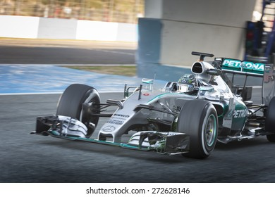 JEREZ, SPAIN   FEBRUARY 2ND: Nico Rosberg Testing His New Mercedes W06 F1  Car