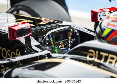 JEREZ, SPAIN - FEBRUARY 2ND: Pastor Maldanado testing his new E23 Lotus F1 car on the first Test at the Jerez Circuit in Jerez, Andalucia, Spain on Feb. 2, 2015.
