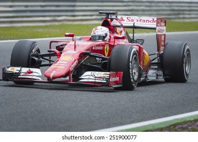 JEREZ, SPAIN - FEBRUARY 2ND: Sebastian Vettel testing his new Ferrari SF15-T F1 car on the first Test at the Jerez Circuit in Jerez, Andalucia, Spain on Feb. 2, 2015.