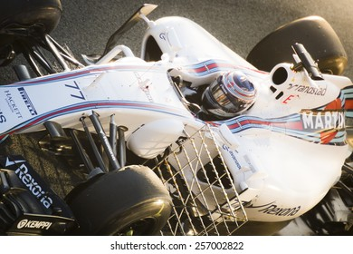 JEREZ, SPAIN - FEBRUARY 2ND: Valtteri Bottas testing his new FW37 Martini Williams Racing F1 car on the first Test at the Jerez Circuit in Jerez, Andalucia, Spain on Feb. 2, 2015.