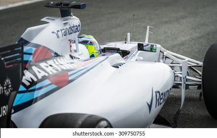 JEREZ, SPAIN - FEBRUARY 3RD: Felipe Massa testing his new FW37 Martini Williams Racing F1 car on the first Test at the Jerez Circuit in Jerez, Andalucia, Spain on Feb. 2, 2015.