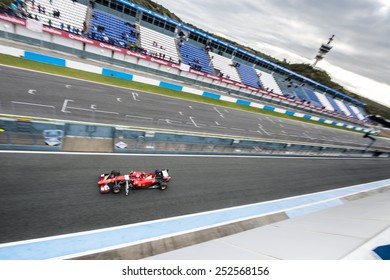 JEREZ, SPAIN - FEBRUARY 3rd: Kimi Raikkonen testing his new Ferrari SF15-T F1 car on the first Test at the Jerez Circuit in Jerez, Andalucia, Spain on Feb. 3, 2014.
