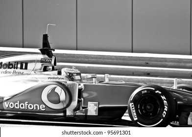 JEREZ, SPAIN - FEBRUARY 9: Lewis Hamilton test drives his new Mclaren in the first F1 test in Jerez, Spain on February 9, 2012.