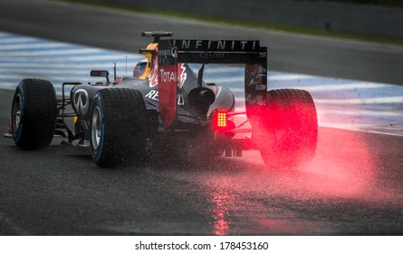 JEREZ, SPAIN - JANUARY 31: Daniel Ricciardo testing his new Red Bull RB10 F1 car on the first Test at the Jerez Circuit in Jerez, Andalucia, Spain on Jan. 31, 2014.