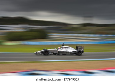 JEREZ, SPAIN - JANUARY 31: Kevin Magnussen testing his new Mclaren Mercedes MP4-29 F1 car on the first Test at the Jerez Circuit in Jerez, Andalucia, Spain on Jan. 31, 2014.