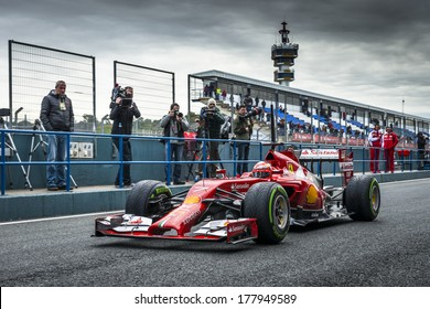 JEREZ, SPAIN - JANUARY 31: Kimi Raikkonen testing his new Ferrari F14 T F1 car on the first Test at the Jerez Circuit in Jerez, Andalucia, Spain on Jan. 31, 2014.