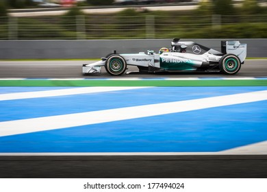 JEREZ, SPAIN - JANUARY 31: Lewis Hamilton testing his new Mercedes W05 F1 car on the first Test at the Jerez Circuit in Jerez, Andalucia, Spain on Jan. 31, 2014.