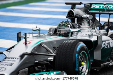 JEREZ, SPAIN - JANUARY 31: Nico Rosberg testing his new Mercedes W05 F1 car on the first Test at the Jerez Circuit in Jerez, Andalucia, Spain on Jan. 31, 2014.