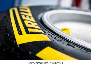 JEREZ, SPAIN - JANUARY 31: Pirelli Tyre on display in the paddock on the first Test at the Jerez Circuit in Jerez, Andalucia, Spain on Jan. 31, 2014.